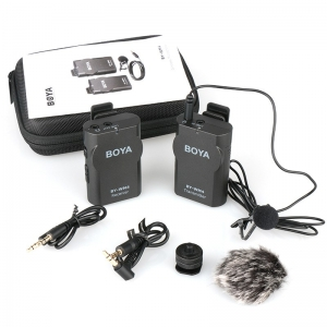 BOYA BY-WM4 Wireless Lavalier Lapel ไมโครโฟน iPhone Samsung Canon Nikon DSLR เหมาะสำหรับ Live สด
