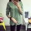 เสื้อเชิ้ตลายจุดปกน้ำตาล สีเขียว(Green) thumbnail 1