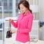 เสื้อเชิ้ตสีพื้นตัวโปรด ปกประดับพลอยเป็นรูปดอกไม้ สีชมพู(Pink) thumbnail 2