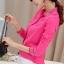 เสื้อเชิ้ตสีพื้นตัวโปรด ปกประดับพลอยเป็นรูปดอกไม้ สีชมพู(Pink) thumbnail 4