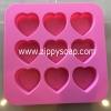 แม่พิมพ์ซิลิโคนหัวใจ 9 ช่อง 3 ลาย 30g+-