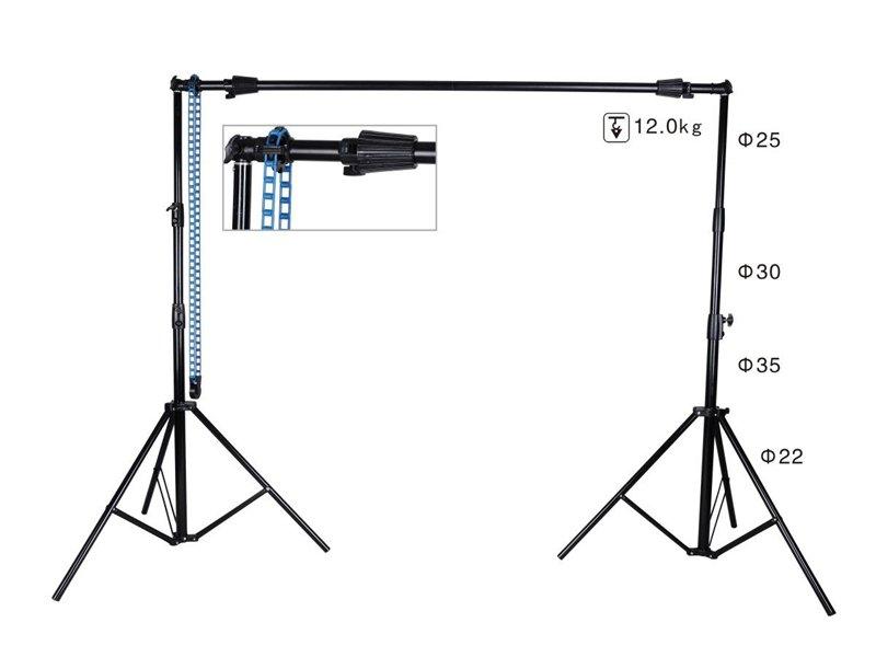 โครงฉากถ่ายภาพ ขาตั้งฉากหลัง backdrop แบบถอดประกอบได้ หมุนเก็บฉากได้ 2.6m x 3m BG-A