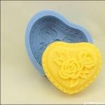 แม่พิมพ์สบู่ซิลิโคนรูปหัวใจ+ดอกไม้ 90g