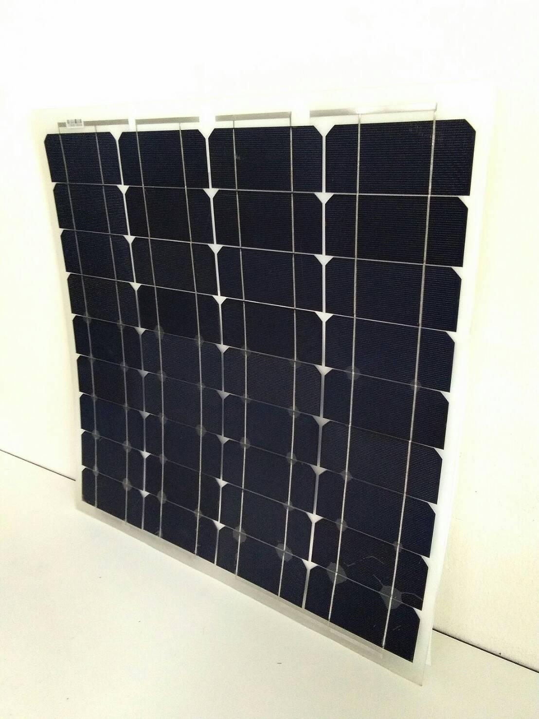แผงโซล่าเซลล์ ชนิด Mono-Crystalline ขนาด 50W แบบโค้งงอได้ Flexible Solar Panel