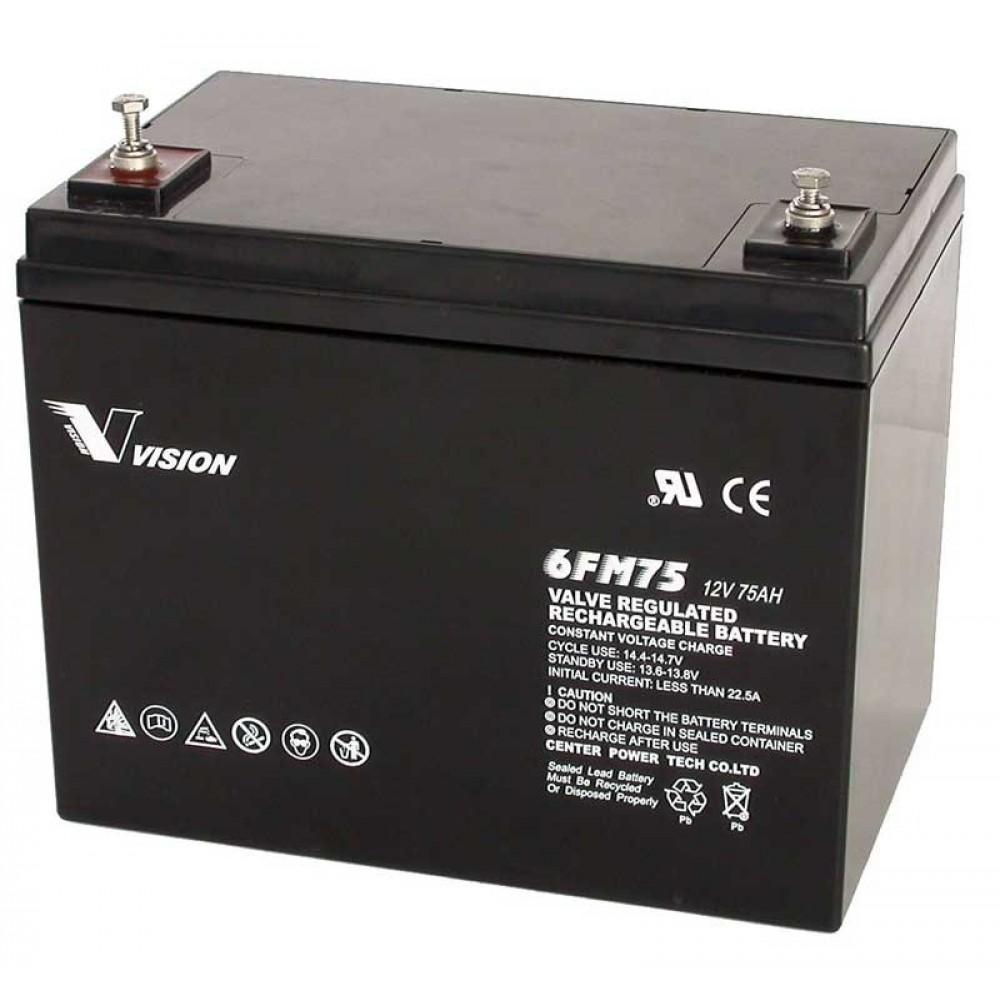 แบตเตอรี่ขนาด 75Ah 12V ชนิด Deep Cycle - AGM