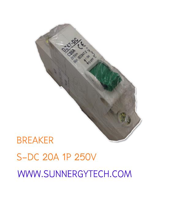 Breaker แบบ MCB DC ขนาด C20A 250V 1 Pole (SNT)