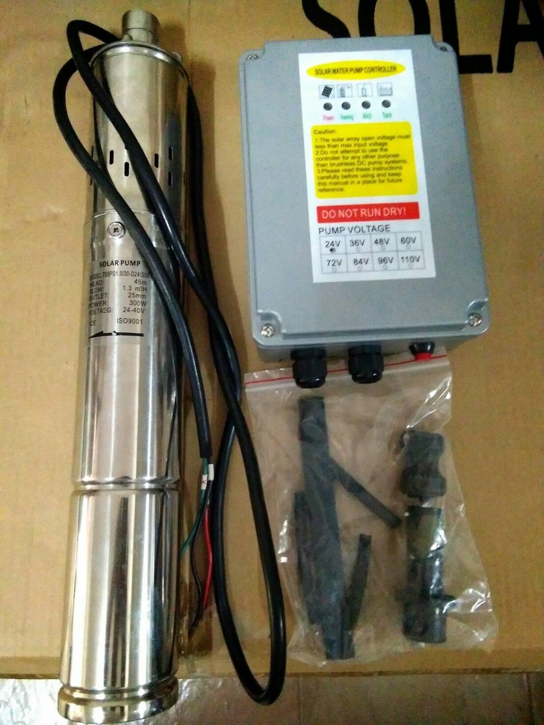 โซล่าปั๊ม (Solar Pump) ชนิด Submersible ขนาด 75SPS 1.0/30/D24/300