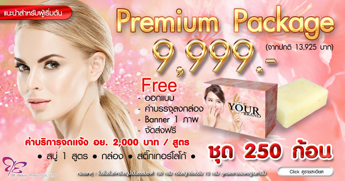 Premium Package 9,999.- : โปรโมชั่นทำแบรนด์สบู่ 250 ก้อน พร้อมกล่อง