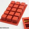 แม่พิมพ์ซิลิโคน สี่เหลี่ยม 12 ช่อง 4*4 cm