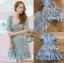 ชุดเดรสผ้าลูกไม้สีฟ้าสดตกแต่งระบาย thumbnail 5